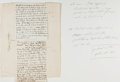 Autographs:Authors, Thomas de Quincey. (1785-1859, English Writer and Essayist).Autograph Manuscript, In de Quincy's Hand, Being a Portion ofHis...