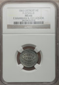 Civil War Merchants, 1863 F. Hamman & Co., Detroit, MI, F-225AI-2i, R.9, MS66 NGC....