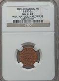 Civil War Merchants, 1864 W.H. Naylor, Brighton, MI, F-85C-3a, R.9, MS64 Red and BrownNGC. ...