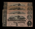 Confederate Notes:1864 Issues, T69 $5 1864. Four Examples.. ... (Total: 4 notes)