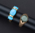 Estate Jewelry:Rings, Turquoise & Antique Cat's Eye Quartz Rings. ... (Total: 2Items)