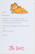 Autographs:Authors, Jim Davis (1945- , American Cartoonist). Typed Letter Signed. 19 May, 1994. Signed by Davis in red ink with Garfield ima...
