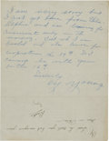 Autographs:Letters, 1953 Cy Young Handwritten Signed Letter....