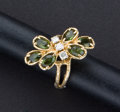 Estate Jewelry:Rings, Butterfly Diamond & Tourmaline Gold Ring. ...
