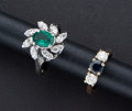 Estate Jewelry:Rings, Two Diamond & Gold Rings, One Sapphire, One synthetic Emerald.... (Total: 2 Items)