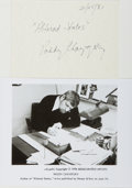 Autographs:Authors, Paddy Chayefsky. (1923-1981, American Playwright and Screenwriter). Signed Card. Dated 25 February, 1981. Thin cardstock, ap...