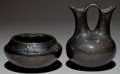 American Indian Art:Pottery, TWO SANTA CLARA BLACKWARE VESSELS. c. 1920 and 1940... (Total: 2Items)