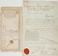 Autographs:Non-American, Pair of Nineteenth Century Documents, One in German and One inArabic. 13 September, 1831. German document measures approxim...