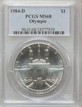 Modern Issues: , 1984-D $1 Olympic Silver Dollar MS68 PCGS. PCGS Population(154/1246). NGC Census: (52/770). Mintage: 116,000. Numismedia W...