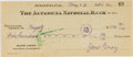 Autographs:Authors, Zane Grey. (1872-1939, American Writer of Western Novels). Signed Personal Check. Altadena: 26 May, 1930. Approximately 2.5 ...