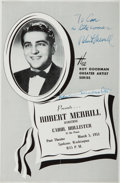 Autographs:Celebrities, Robert Merrill. (1917-2004, American Operatic Baritone). Signed andInscribed Program. Spokane: 5 March, 1951. Two page prog...