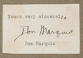 Autographs:Authors, Don Marquis. (1878-1937, American Writer and Journalist). ClippedSignature. Approximately 1.5 x 2.25 inches. Mounted to bro...