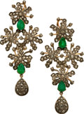 Estate Jewelry:Earrings, Emerald, Diamond, Silver-Topped Gold Earrings. ...