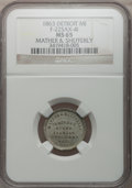 Civil War Merchants, 1863 Mather & Shefferly, Detroit, MI, F-225AX-4i, R.9, MS65NGC. ...