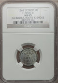 Civil War Merchants, 1863 J.A. Rodier, Detroit, MI, F-225BJ-3i, R.9, MS65 NGC. ...