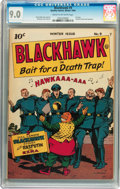 Golden Age (1938-1955):Adventure, Blackhawk #9 (Quality, 1944) CGC VF/NM 9.0 Cream to off-white pages....