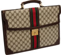 Luxury Accessories:Bags, Heritage Vintage Gucci Vintage Signature Briefcase with Classic Redand Green Stripe. ...