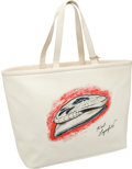 Luxury Accessories:Accessories, Heritage Vintage Chanel White Canvas Karl Lagerfeld Tote Bag. ...