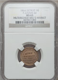 Civil War Merchants, 1864 Hilterscheid Bros., Detroit, MI, F-225AM-3d, R.9, MS65 NGC....