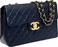 Luxury Accessories:Bags, Heritage Vintage Chanel Navy Lambskin Leather Jumbo Single Flap Bag with Gold Hardware. ...