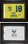 Golf Collectibles:Autographs, 2000 Tiger Woods Signed Pin Flags Lot of 2....
