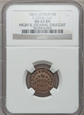 Civil War Merchants, 1863 Higby & Stearns, Detroit, MI, F-225AL-1a1, R.10, MS63Brown NGC. ...