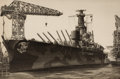 Prints, JOHN TAYLOR ARMS (American, 1887-1953). Pair: Battleship, 1943; Ships on the Harbor, 1943. Etchings. Image: 12 x 18 ... (Total: 2 Items)
