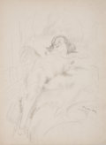Fine Art - Work on Paper:Drawing, EMIL GANSO (American, 1895-1941). Nude Female Reclining,1929. Pencil on paper. 19-3/4 x 15 inches (50.2 x 38.1 cm). Ins...
