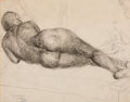 Fine Art - Work on Paper:Print, EMIL GANSO (American, 1895-1941). Pair: Reclining Nude; Standing Nude. Charcoal and pencil on paper; etching. Main sheet... (Total: 2 Items)