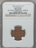 Civil War Merchants, 1864 M. Marx, Detroit, MI, F-225AW-4a, R.10, MS62 Brown NGC. ...