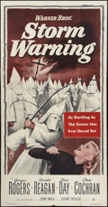 "Movie Posters:Drama, Storm Warning (Warner Brothers, 1951). Three Sheet (41"" X 81"").Drama.. ..."