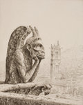 Prints, JOHN TAYLOR ARMS (American, 1887-1953). Le Penseur de Notre Dame (The Thinker of Notre Dame Cathedral), 1923. Etching. I...
