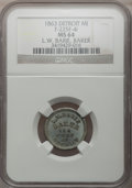 Civil War Merchants, 1863 L.W. Barie, Detroit, MI, F-225F-4i, R.9, MS64 NGC....