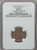 Civil War Merchants, 1864 F. Prouty, Detroit, MI, F-225BF-3d, R.9, MS64 NGC. ...