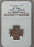 1863 J.D. Sherman, Paw Paw, MI, F-745D-1a, R.9, MS64 Brown NGC