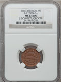 Civil War Merchants, 1864 J. Schmidt, Detroit, MI, F-225BN-3a, R.10, MS64 Brown NGC. ...