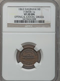 Civil War Merchants, 1863 Epting & Eaton, Saginaw City, MI, F-845B-1a, R.8, VF20NGC....