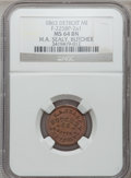 Civil War Merchants, 1863 H. A. Sealy, Detroit, MI, F-225BP-2a1, R.10, MS64 Brown NGC....