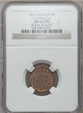 Civil War Merchants, 1863 John Seeley, Detroit, MI, F-225BQ-2a1, R.9, MS63 Brown NGC....