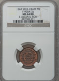 1863 I. Allen & Son, Schoolcraft, MI, F-900A-3a, R.8, MS64 Red and Brown NGC