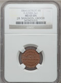 Civil War Merchants, 1864 J. B. Shagnon, Detroit, MI, F-225BR-3a1, R.10, MS65 Brown NGC....