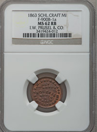 1863 I.W. Prusel & Co., Schoolcraft, MI, F-900B-1a, R.7, MS62 Red and Brown NGC