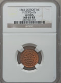 Civil War Merchants, 1863 Ward's Lake Superior Line, Cleveland, OH, F-175Q-2a, R.8, MS65Red and Brown NGC. ...