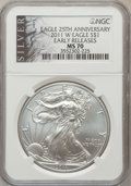 Modern Bullion Coins, 2011-W $1 Silver Eagle, 25th Anniversary, Early Releases MS70 NGC.NGC Census: (0). PCGS Population (2397). (#505255)...