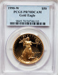 Modern Bullion Coins: , 1990-W G$50 One-Ounce Gold Eagle PR70 Deep Cameo PCGS. PCGSPopulation (152). NGC Census: (651). Mintage: 62,401. Numismedi...