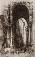 Fine Art - Work on Paper:Print, HEDLEY FITTON (British, 1859-1929). Pair: Ancient Portal, City Gate, Genoa; Devotion. Etchings. Main image: 11-3/4 x 7-1... (Total: 3 Items)