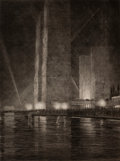 Fine Art - Work on Paper:Print, GERALD KENNETH GEERLINGS (American, 1897-1997). ElectricalBuilding at Night, Chicago World's Fair, 1933. Etching.Image...