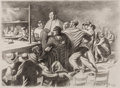 Fine Art - Work on Paper:Drawing, ROBERT RIGGS (American, 1896-1970). Boxing Match. Charcoalon paper. Image: 10-1/2 x 14-1/2 inches (26.7 x 36.8 cm). She...