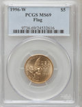 Modern Issues: , 1996-W G$5 Olympic/Flag Bearer Gold Five Dollar MS69 PCGS. PCGSPopulation (1355/103). NGC Census: (294/320). Numismedia W...