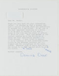 Books:Americana & American History, Dominick Dunne (1925-2009, American Author and InvestigativeJournalist). Typed Letter Signed. [New York]: April 10, 1996. A...
